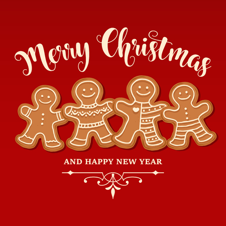Beautiful Christmas card with gingerbread family. Christmas poster. Print. Vector Çizim