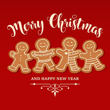 Belle carte de Noël avec la famille de pain d'épice. Affiche de Noël. Imprimer. Vecteur