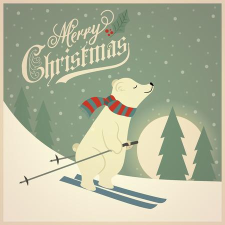 Hermosa tarjeta de Navidad retro con esquiador oso polar. Diseño plano. Vector Ilustración de vector