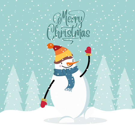 Flat design Christmas card with happy snowman. Christmas poster. Vector Illustration