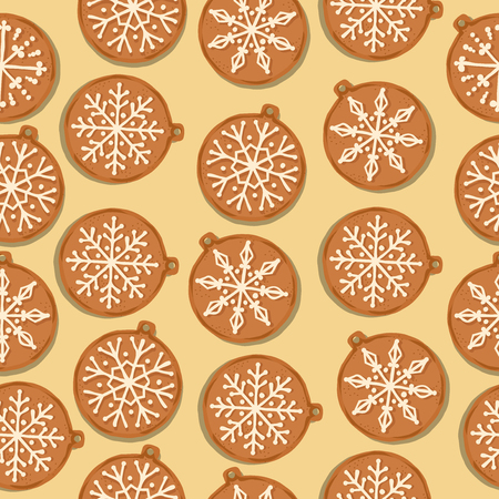 Festive Christmas seamless pattern with gingerbread Christmas balls on yellow background. Vector