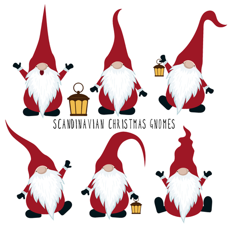 Christmas gnomes collection isolated on white background. Vector