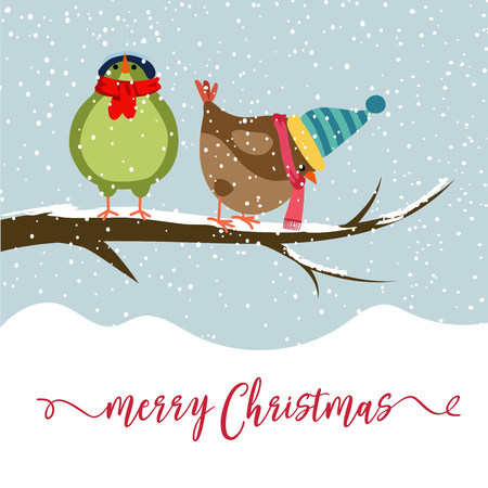 Christmas card with two birds. Christmas background. Flat design. Vector 스톡 콘텐츠 - 127293701