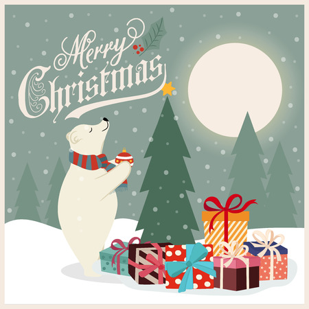 Retro Christmas card with polar bear that adorns  the Christmas tree. Flat design. Vector