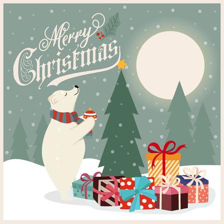 Retro Christmas card with polar bear that adorns  the Christmas tree. Flat design. Vector