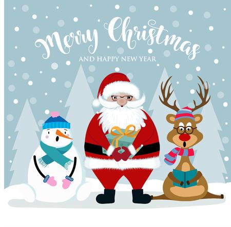 Christmas card with Santa, snowman and reindeer. Flat design. Vector Illustration