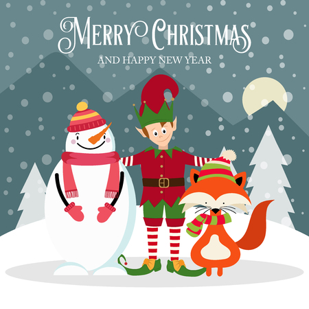Elf, snowman and fox. Beautiful Christmas card. Flat design. Vector
