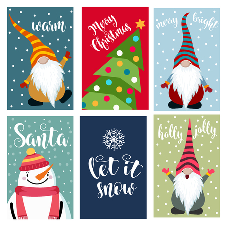 Christmas cards collection . Labels. Stickers. Flat design