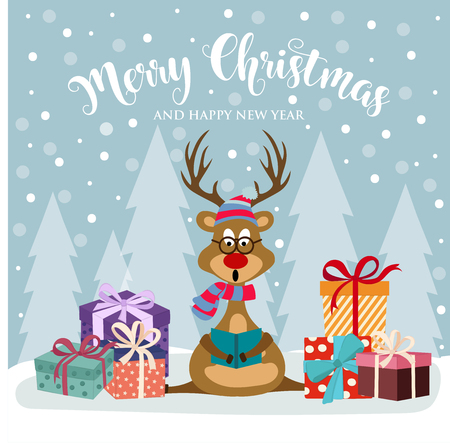 Christmas card with cute reindeer and gift boxes. Flat design. Vector