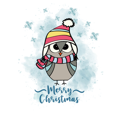 Doodle Christmas card with dressed owl, eps10