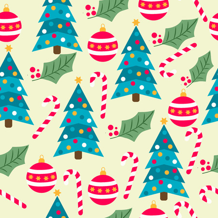 Christmas seamless pattern with Christmas trees, candy canes, globes and mistletoe for Christmas background,  wrapping paper, print. Vector Stock Illustratie