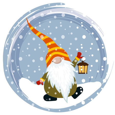 Christmas card with cute gnome. Flat design. Vector