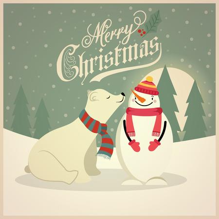 Beautiful retro Christmas card with polar bear and snowman. Flat design. Vector