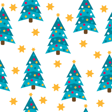 Christmas seamless pattern with Christmas trees and stars for Christmas background,  wrapping paper, print. Vector