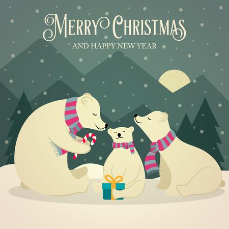 Beautiful flat design retro Christmas card with polar bears family. Flat design. Vector Illustration