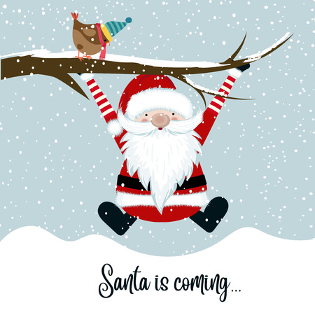 Santa is coming, funny Christmas illustration Illustration