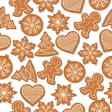 Festive Christmas seamless pattern with gingerbread on white background. Vector Vektoros illusztráció