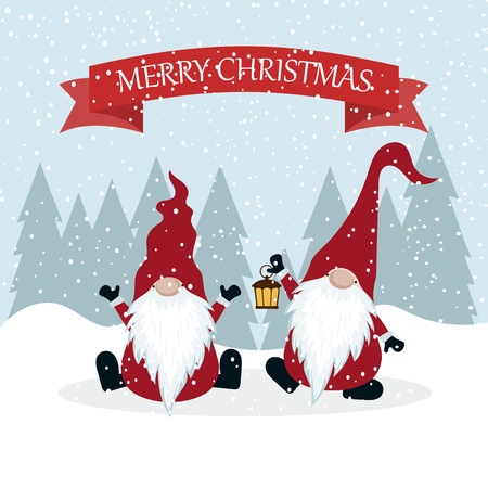 Christmas card with gnomes. Flat design. Scandinavian Christmas