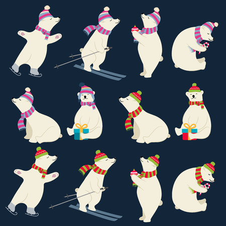 Dressed polar bears collection for Christmas designs. Isolated items. Flat design. Vector