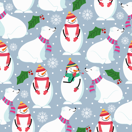 Christmas seamless pattern with polar bears,snowman and mistletoe. Suitable for Christmas posters, wrapping and print. Vector Illustration