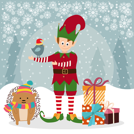 Christmas card with elf and hedgehog. Christmas poster. Vector
