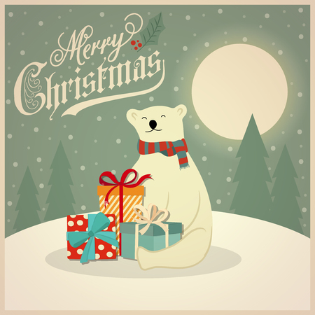 Christmas card with polar bear and gift boxes. Flat design. Vector