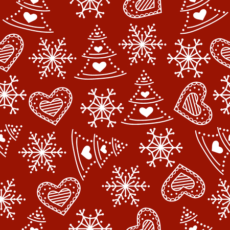 Christmas seamless pattern. Christmas background. Christmas wrapping paper. Flat design. Vector Stock Illustratie