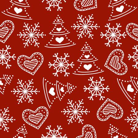 Modèle sans couture de Noël. Fond de Noël. Papier d'emballage de Noël. Conception plate. Vecteur