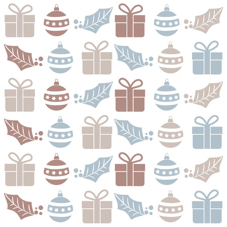 Christmas seamless pattern with  balls, gifts and mistletoe. Christmas background. Christmas wrapping. Flat design Illusztráció