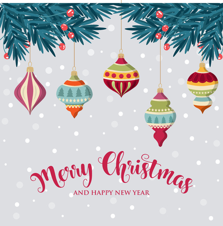 Christmas background with hanging balls. Flat design. Christmas card.