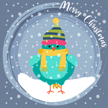 Christmas card with cute dressed bird. Flat design. Vector
