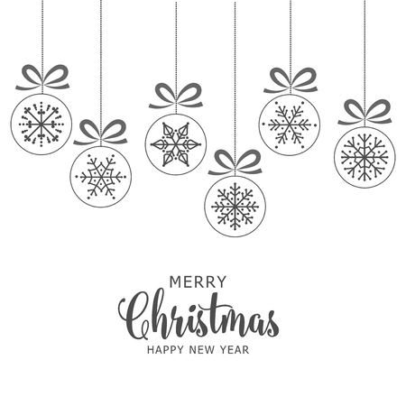 Christmas white background with baubles. Flat design.