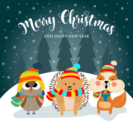 Christmas card with cute dressed animals and wishes. Flat design. Vector 스톡 콘텐츠 - 127294449