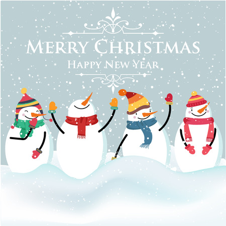 Beautiful flat design Christmas card with snowman and wishes. Christmas poster. Print. Vector