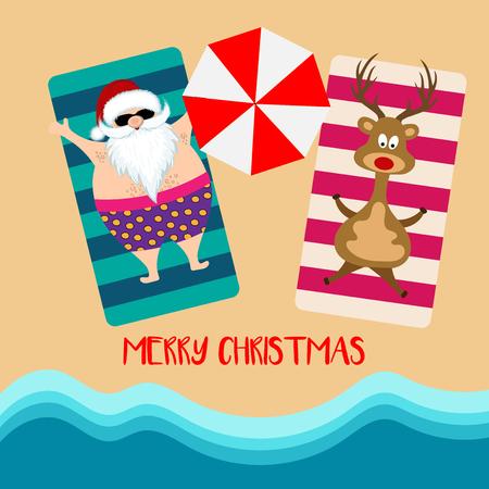 Christmas card with santa and reindeer at beach. Flat design Ilustração