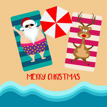 Christmas card with santa and reindeer at beach. Flat design Illustration