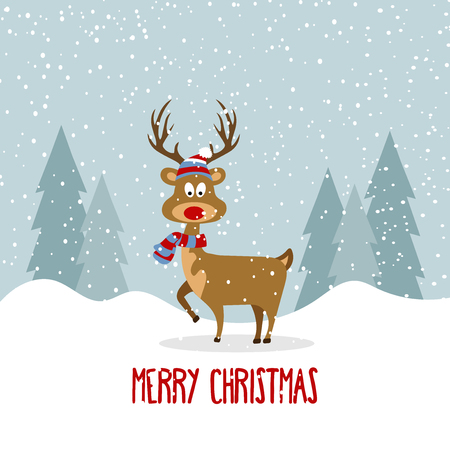 Beautiful flat design Christmas card with reindeer . Christmas poster. Vector Illustration