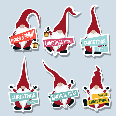 Christmas stickers collection with gnomes. Flat design