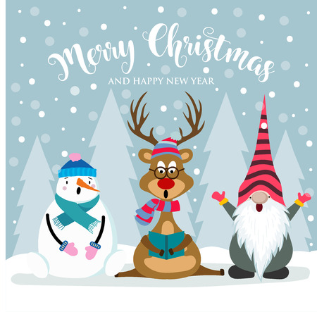 Christmas card with cute snowman, reinder and gnome. Flat design. Vector