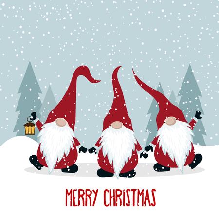 Christmas card with gnomes. Flat design. Scandinavian Christmas