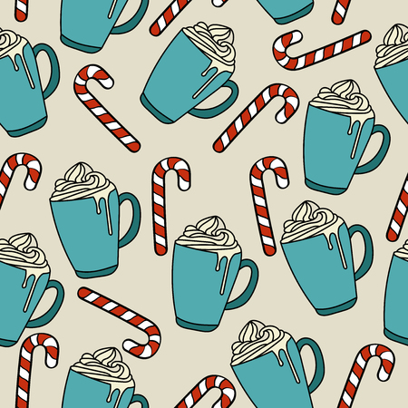 Christmas seamless pattern with hot chocolate and candy canes for Christmas background  wrapping paper, print. Vector