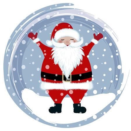 Happy santa in snow Flat design