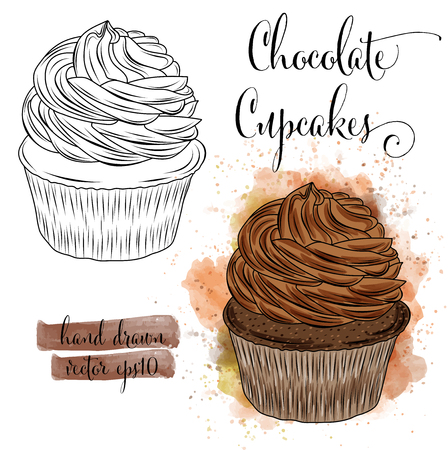 Beautiful hand drawn watercolor cupcakes with chocolate. Vector format Ilustrace