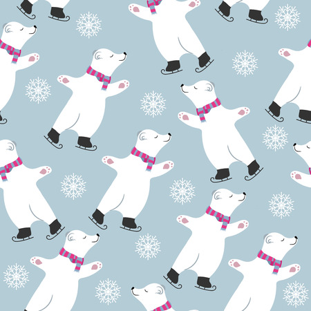 Christmas seamless pattern with polar bears skatting. Suitable for Christmas posters, wrapping and print. Vector