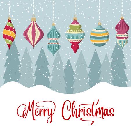 Kartka świąteczna z kulkami i życzeniami. Boże Narodzenie tło. Płaska konstrukcja. Wektor
