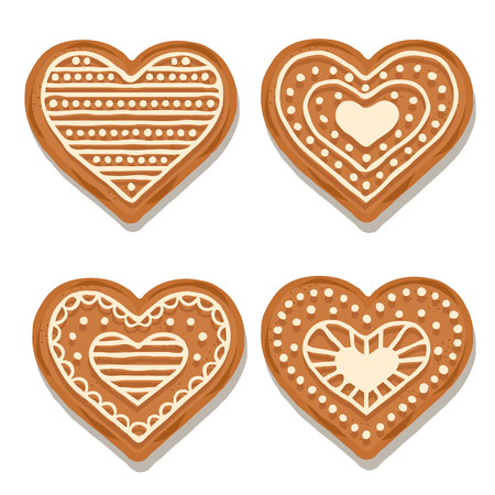 Realistic gingerbread hearts collection isolated on white background. Christmas gingerbread. Vector
