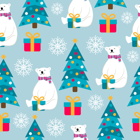 Christmas seamless pattern with polar bears, Christmas trees and presents. Suitable for Christmas posters, wrapping and print. Vector Illustration