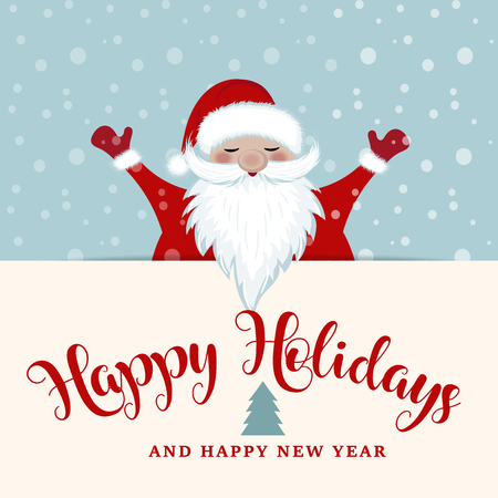 Christmas card with Santa. Flat design, Wishes