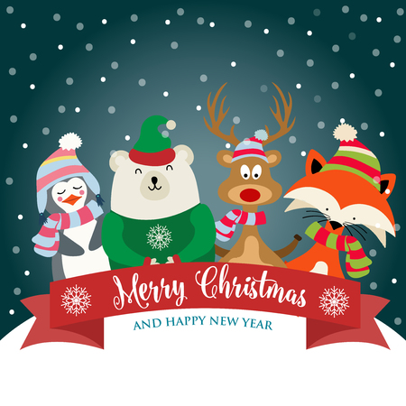 Christmas card with cute dressed animals and wishes. Flat design. Vector 일러스트