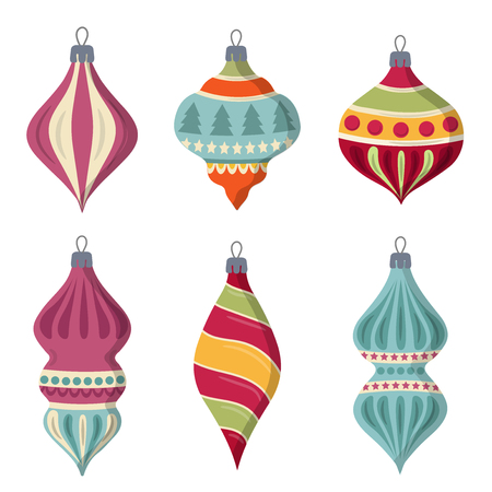 Hand drawn flat Christmas balls collection isolated on white background. Vector